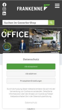 Vorschau der mobilen Webseite www.frankenne.de, Frankenne GmbH