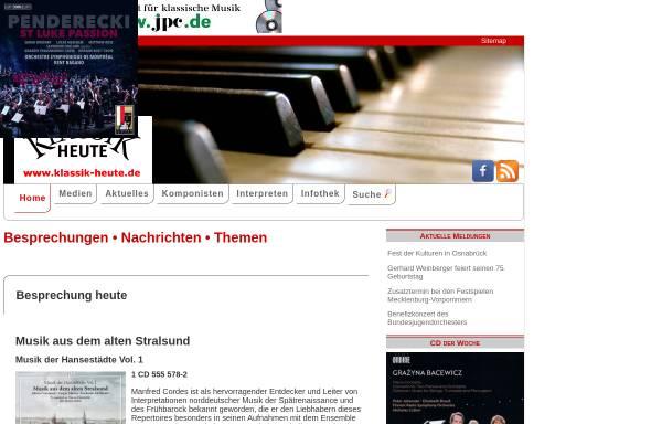 Vorschau von www.klassik-heute.de, Virtuosität existiert für mich nicht