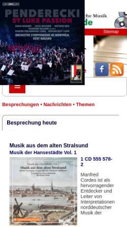 Vorschau der mobilen Webseite www.klassik-heute.de, Virtuosität existiert für mich nicht