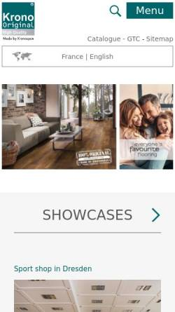 Vorschau der mobilen Webseite www.krono-original.com, Kronoflooring GmbH