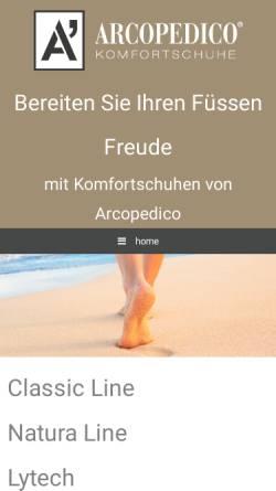 Vorschau der mobilen Webseite www.arcopedico.ch, Arcopedico Gesundheitsschuhe