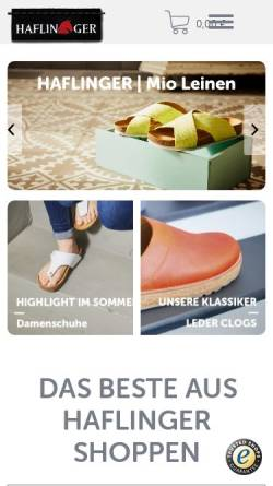 Vorschau der mobilen Webseite www.haflinger.com, HAFLINGER | iesse-Schuh GmbH