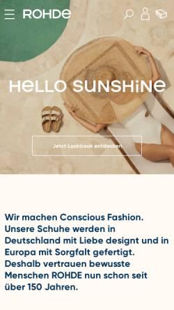 Vorschau der mobilen Webseite www.rohde-schuhe.de, Rohde-Schuhe