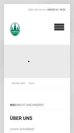Vorschau der mobilen Webseite www.franken-schuhe.de, Schuhfabrik Alfred Sünkel
