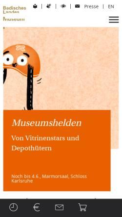 Vorschau der mobilen Webseite www.landesmuseum.de, Badisches Landesmuseum Karlsruhe