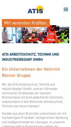Vorschau der mobilen Webseite www.atis-shop.de, Arbeitsschutz, Technik und Industriebedarf GmbH