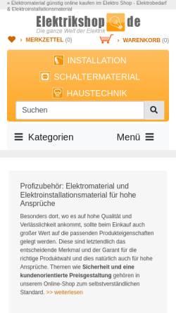 Vorschau der mobilen Webseite www.elektrikshop.de, Elektro Banz, Inh. Dieter Banz