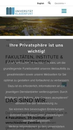 Vorschau der mobilen Webseite www.iff.ac.at, Fakultät für interdisziplinäre Forschung und Fortbildung der Universität Klagenfurt