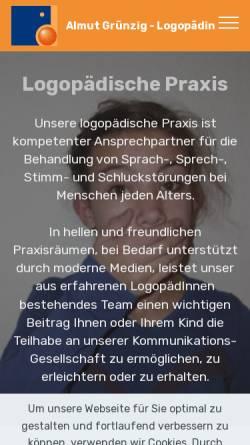 Vorschau der mobilen Webseite www.logopaedie-gruenzig.de, Logopädische Praxis Almut Grünzig