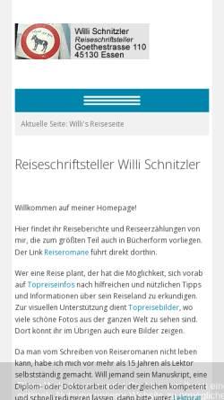 Vorschau der mobilen Webseite www.willischnitzler.de, Willi's Reiseseite [Willi Schnitzler]