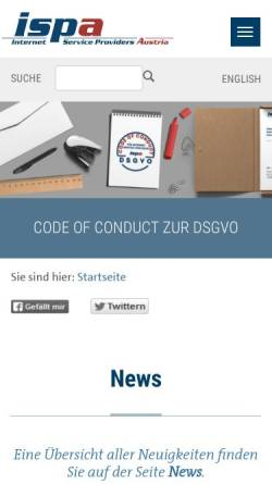 Vorschau der mobilen Webseite www.ispa.at, ISPA - Internet Service Providers Austria