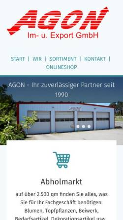 Vorschau der mobilen Webseite www.agon-blumen.de, AGON Import und Export GmbH