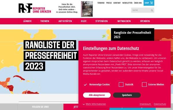 Vorschau von www.reporter-ohne-grenzen.de, Reporter ohne Grenzen e.V.