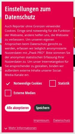 Vorschau der mobilen Webseite www.reporter-ohne-grenzen.de, Reporter ohne Grenzen e.V.