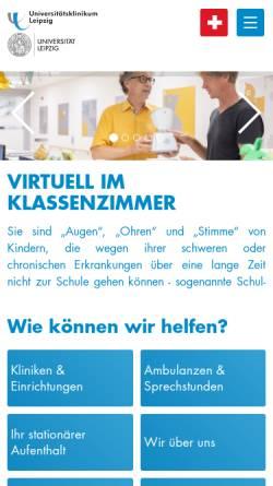 Vorschau der mobilen Webseite www.medizin.uni-leipzig.de, Universität Leipzig