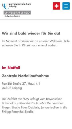 Vorschau der mobilen Webseite www.uniklinikum-leipzig.de, Universitätsklinikum Leipzig