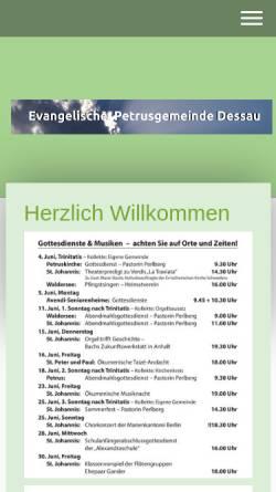 Vorschau der mobilen Webseite petruskirche-dessau.de, Petruskirche Dessau