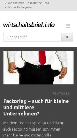 Vorschau der mobilen Webseite www.wirtschaftsbrief.info, Wirtschaftsbrief.info
