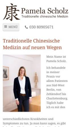 Vorschau der mobilen Webseite www.tcmpraxis-scholz.de, Pamela Scholz