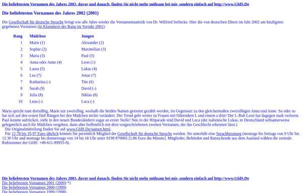 Vorschau von www.joern.de, Jörns beliebteste deutsche Vornamen