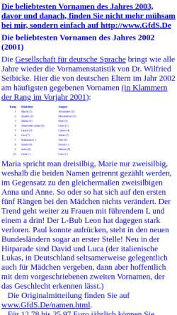 Vorschau der mobilen Webseite www.joern.de, Jörns beliebteste deutsche Vornamen