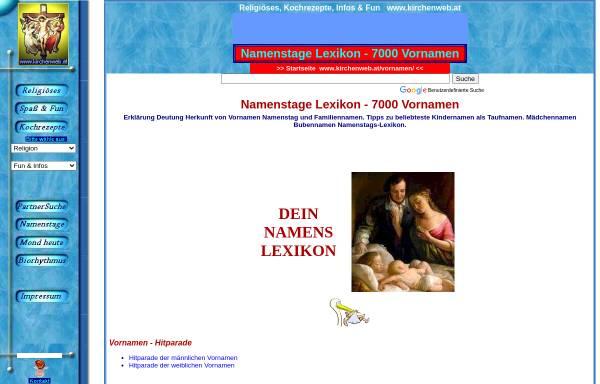Vorschau von www.kirchenweb.at, Kirchenweb Vornamenlexikon