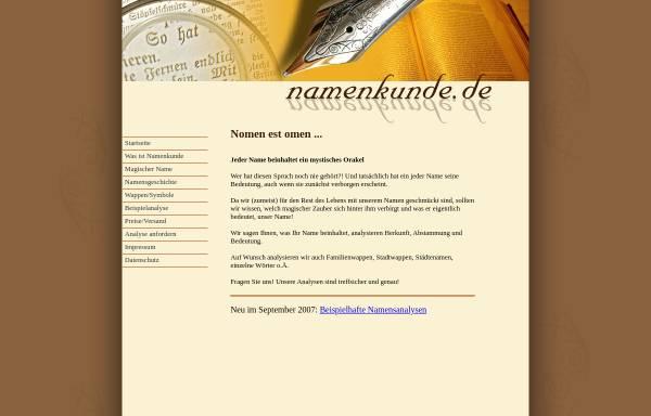 Vorschau von www.namenkunde.de, Namenkunde