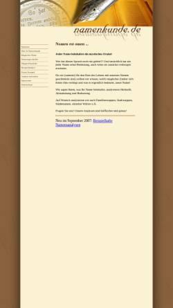 Vorschau der mobilen Webseite www.namenkunde.de, Namenkunde