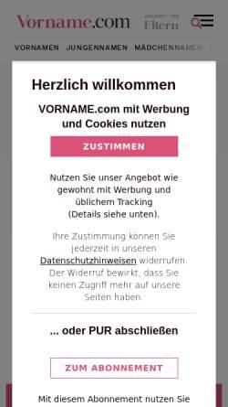 Vorschau der mobilen Webseite www.vorname.com, Vornamen - Adeos Media GmbH