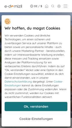 Vorschau der mobilen Webseite www.e-hoi.de, e-domizil GmbH