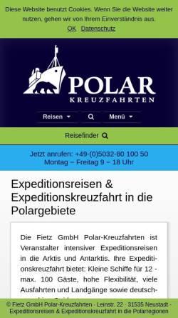 Vorschau der mobilen Webseite www.polar-kreuzfahrten.de, Fietz GmbH