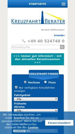 Vorschau der mobilen Webseite www.kreuzfahrtberater.de, Kreuzfahrtberater GmbH