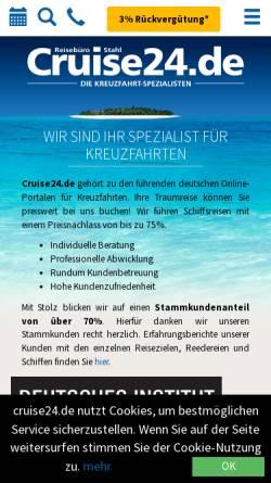 Vorschau der mobilen Webseite www.cruise24.de, Reisebüro Stahl