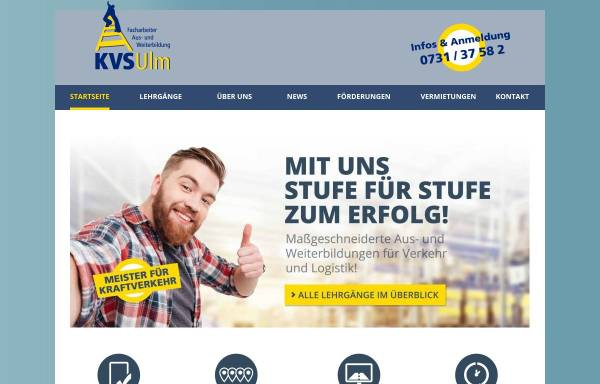 Vorschau von www.kvs-ulm.de, Kraftverkehrs-Schule Ulm GmbH