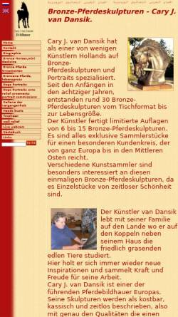 Vorschau der mobilen Webseite www.vandansik.com, Pferde Skulpturen Cary J. van Dansik