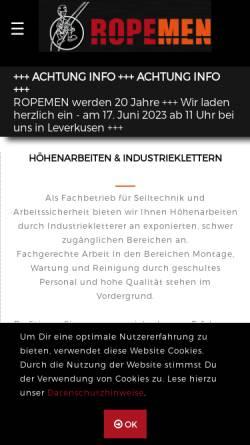 Vorschau der mobilen Webseite www.ropemen.de, Ropemen GmbH & Co. KG