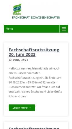 Vorschau der mobilen Webseite www.fsbio.rwth-aachen.de, Fachschaft Biologie an der RWTH Aachen