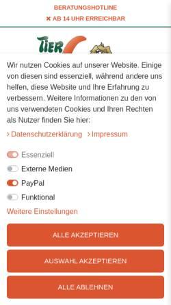 Vorschau der mobilen Webseite www.tiervitalshop.de, Tier Vital Shop, Petra Raab und Tierarzt Klaus Peter Raab GbR