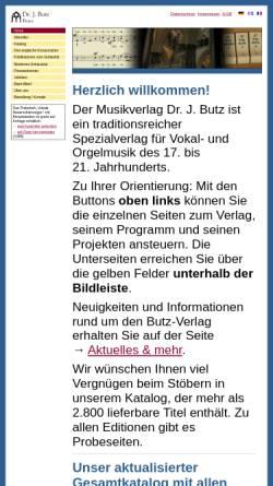 Vorschau der mobilen Webseite www.butz-verlag.de, Musikverlag Dr. J. Butz