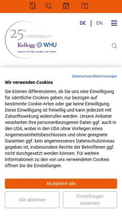Vorschau der mobilen Webseite kellogg.whu.edu, Kellogg-WHU Executive MBA Programm