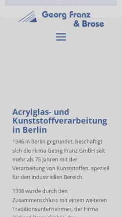 Vorschau der mobilen Webseite www.franz-brose.de, Georg Franz & Brose GmbH