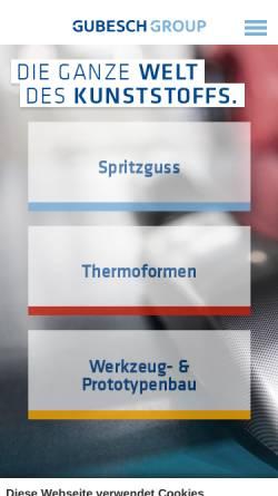 Vorschau der mobilen Webseite www.hbw-gubesch.de, HBW-Gubesch Kunststoff-Engineering GmbH