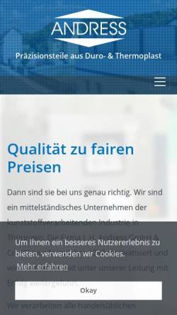 Vorschau der mobilen Webseite www.jhandress.de, Johannes H. Andress GmbH & Co. KG
