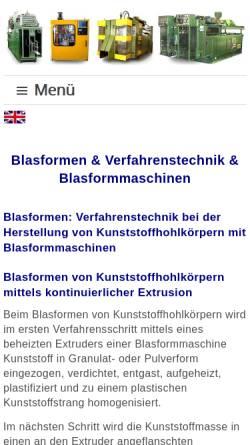 Vorschau der mobilen Webseite blasformen.com, Xeel GmbH