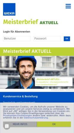 Vorschau der mobilen Webseite www.meisterbrief-aktuell.de, Meisterbrief aktuell - Weka Media GmbH & Co. KG