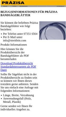 Vorschau der mobilen Webseite www.praezisa-jaennsch.de, Präzisa-Qualitätswerkzeuge KG