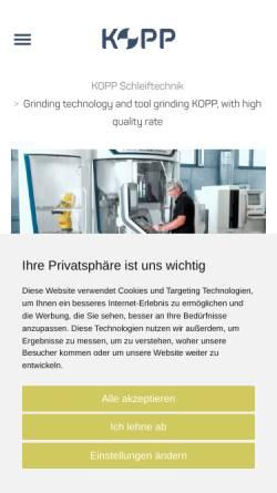 Vorschau der mobilen Webseite www.kopp-schleiftechnik.de, Kopp-Schleiftechnik GmbH