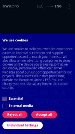 Vorschau der mobilen Webseite mmpro.de, Mmpro. film- und medienproduktion GmbH
