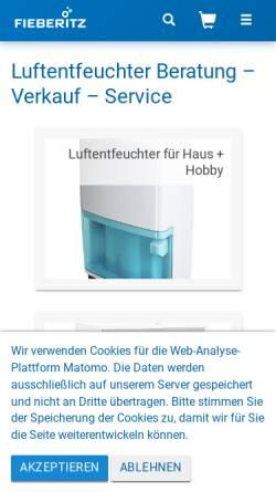 Vorschau der mobilen Webseite www.fieberitz.de, Stephan Fieberitz Entfeuchtungstechnik