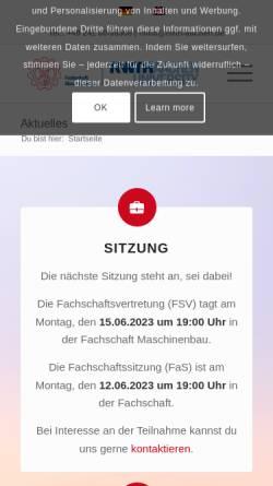 Vorschau der mobilen Webseite www.fsmb.rwth-aachen.de, Fachschaft Maschinenbau